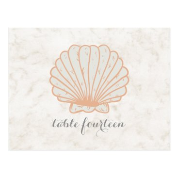 Beach Themed Orange Rustic Seashell Table Number Postcard