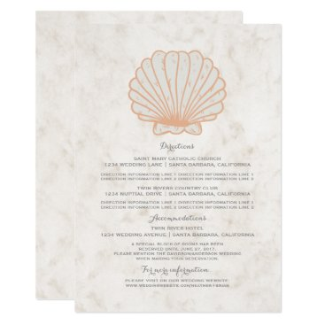 Beach Themed Orange Rustic Seashell Wedding Information Card