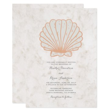 Beach Themed Orange Rustic Seashell Wedding Invite