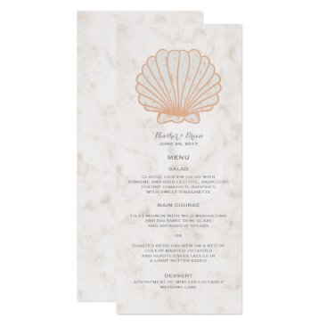 Beach Themed Orange Rustic Seashell Wedding Menu Card