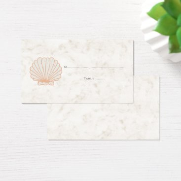 Beach Themed Orange Rustic Seashell Wedding Place Cards