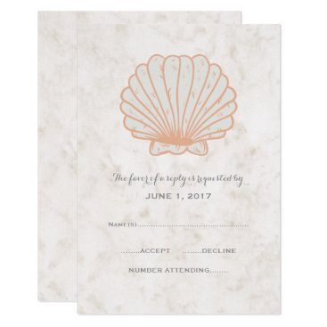 Beach Themed Orange Rustic Seashell Wedding RSVP Card