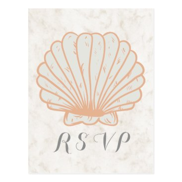 Beach Themed Orange Rustic Seashell Wedding RSVP Postcard