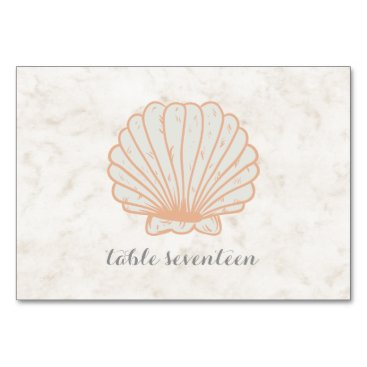 Beach Themed Orange Rustic Seashell Wedding Table Card
