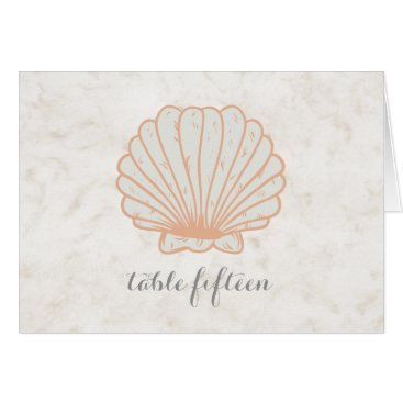 Beach Themed Orange Rustic Seashell Wedding Table Number