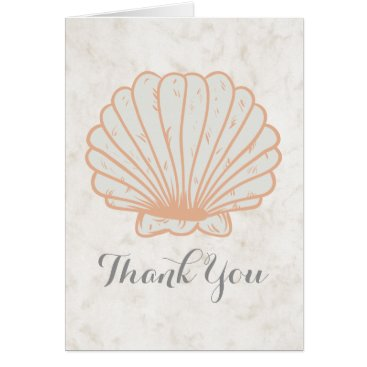 Beach Themed Orange Rustic Seashell Wedding Thank You Card