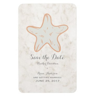 Beach Themed Orange Rustic Starfish Save the Date Magnet