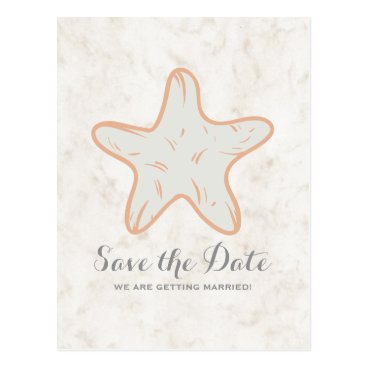 Beach Themed Orange Rustic Starfish Save the Date Postcard