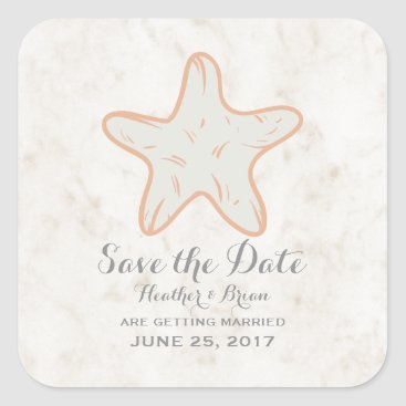Beach Themed Orange Rustic Starfish Save the Date Square Sticker