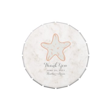 Beach Themed Orange Rustic Starfish Wedding Jelly Belly Candy Tins