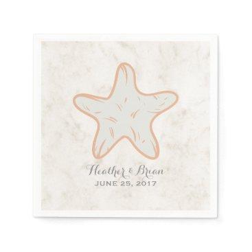 Beach Themed Orange Rustic Starfish Wedding Paper Napkin