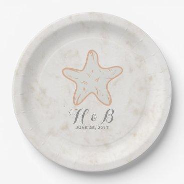 Beach Themed Orange Rustic Starfish Wedding Paper Plate