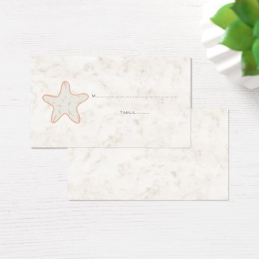Beach Themed Orange Rustic Starfish Wedding Place Cards