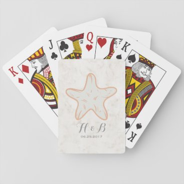 Beach Themed Orange Rustic Starfish Wedding Playing Cards