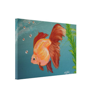 Orange ryukin Goldfish Stretched Canvas Print