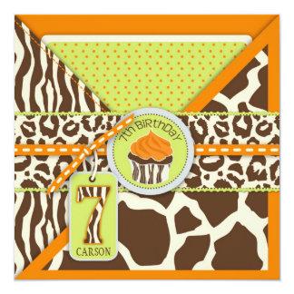 Orange Safari Animal Print Cupcake Seven Birthday Card