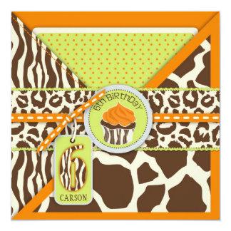 Orange Safari Animal Print Cupcake Sixth Birthday Card
