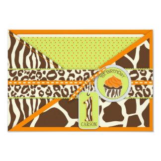 Orange Safari & Cupcake First Birthday Enclosure Card