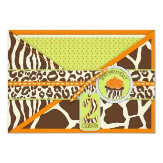Orange Safari & Cupcake Second Birthday RSVP Card