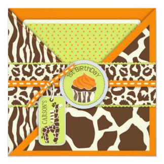 Orange Safari Giraffe & Cupcake First Birthday Card