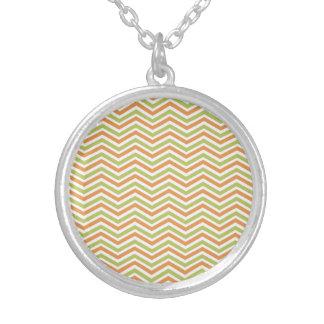 Orange, Sage Green, White Chevron Stripes Necklace