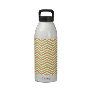 Orange, Sage Green, White Chevron Stripes Reusable Water Bottles