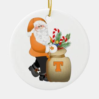 Orange Santa Ceramic Ornament