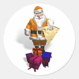 Orange Santa Claus Round Stickers