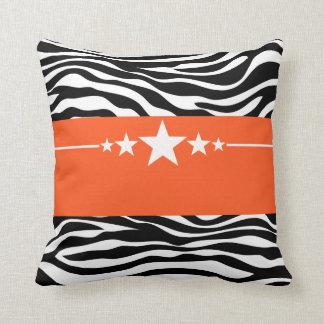 Orange Sassy Star Zebra Pillow