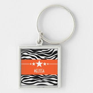 Orange Sassy Star Zebra Premium Keychain