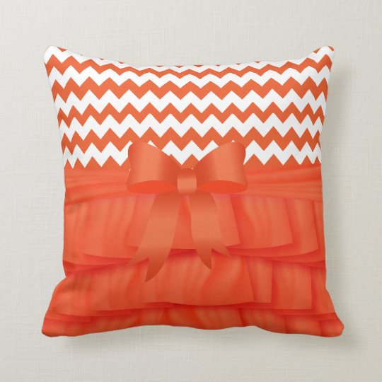 Orange Satin Ruffles & Bow With Chevron Zigzags Throw