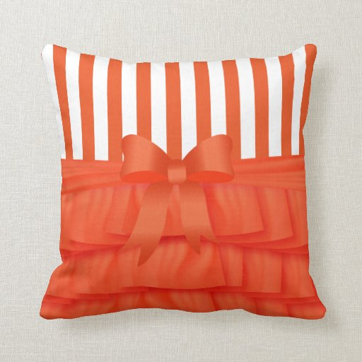Orange Satin Ruffles & Orange Bow With Stripes Throw