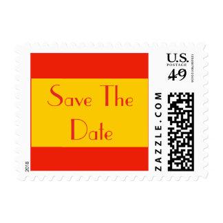 orange save the date postage stamp