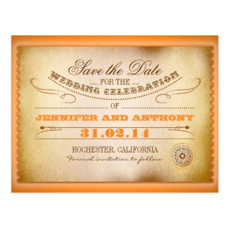 orange save the date vintage tickets postacards post cards