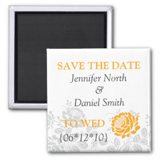 Orange Save The Dates 2 Inch Square Magnet