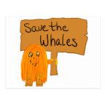 orange save the whales postcard