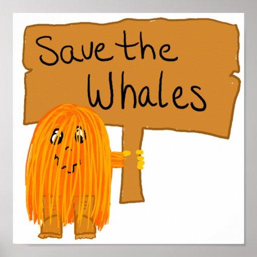 orange save the whales print