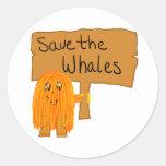 orange save the whales round sticker