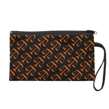 Lawyer Themed Orange Scales of Justice on Black Wristlet Purse
