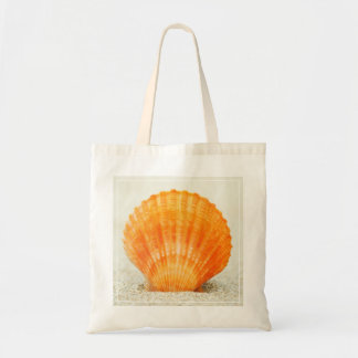 Orange Scallop Shell Standing Upright In Sand Tote Bag