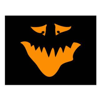 Orange Scary Face. Monster. Postcard
