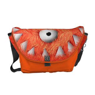 Orange Scary Furry Monster Messenger Bag