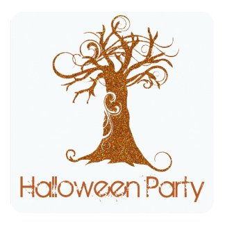 Orange Scary Halloween Tree Party Invitation 2