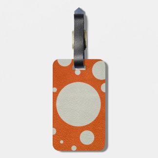 Orange Scattered Spots on Stone Leather print Bag Tag