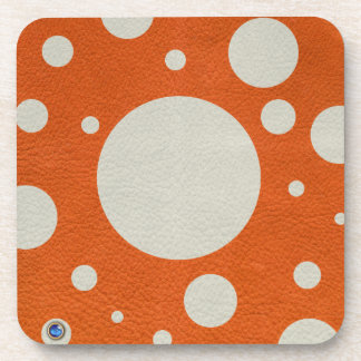 Orange Scattered Spots on Stone Leather print Beverage Coaster