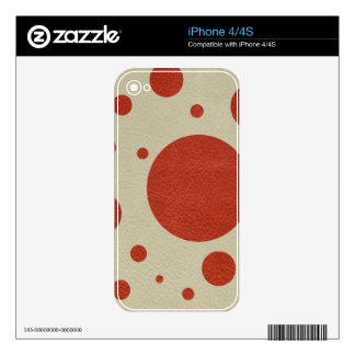 Orange Scattered Spots on Stone Leather print Decals For The iPhone 4S