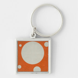 Orange Scattered Spots on Stone Leather print Keychain