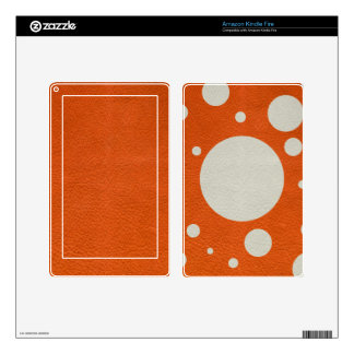 Orange Scattered Spots on Stone Leather print Kindle Fire Decal