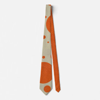 Orange Scattered Spots on Stone Leather print Neck Tie