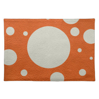 Orange Scattered Spots on Stone Leather print Placemat
